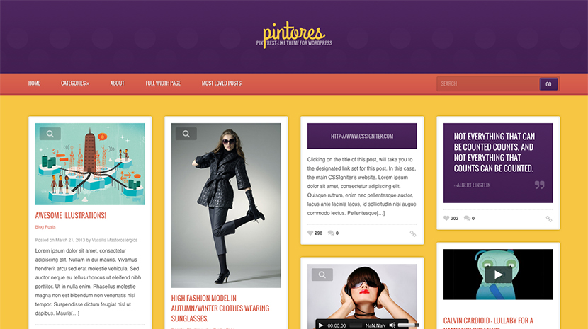 Screenshot of A Pinterest-like WordPress theme Pintores on Desktop
