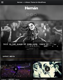 Screenshot of Music Theme for WordPress Hernan on Tablet