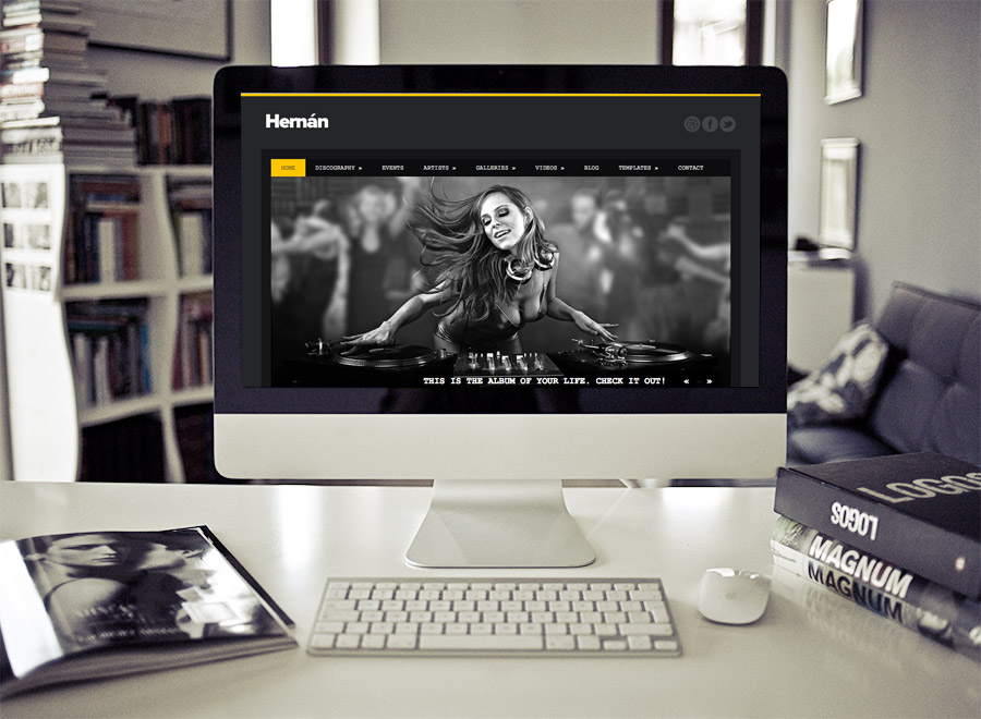 Screenshot of Music Theme for WordPress Hernan on Desktop