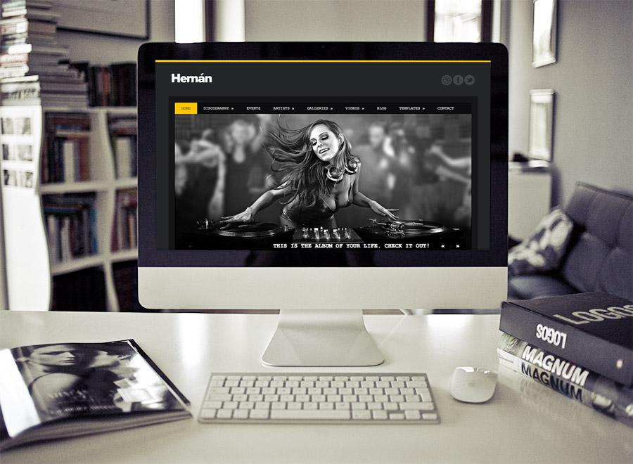 Screenshot of Music Theme for WordPress Hernan on Desktop