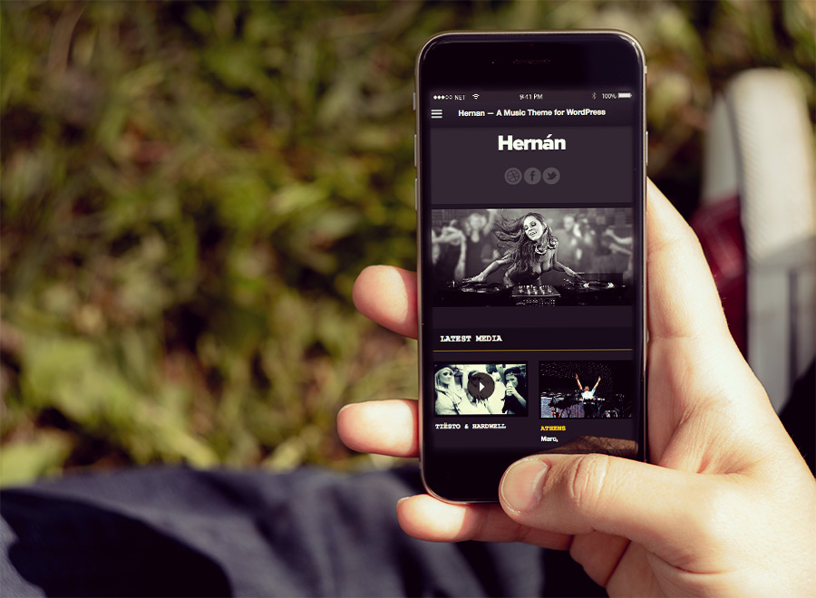 Screenshot of Music Theme for WordPress Hernan on Smartphone