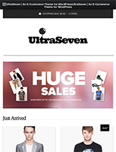 Screenshot of WooCommerce theme for WordPress UltraSeven on Mini Tablet