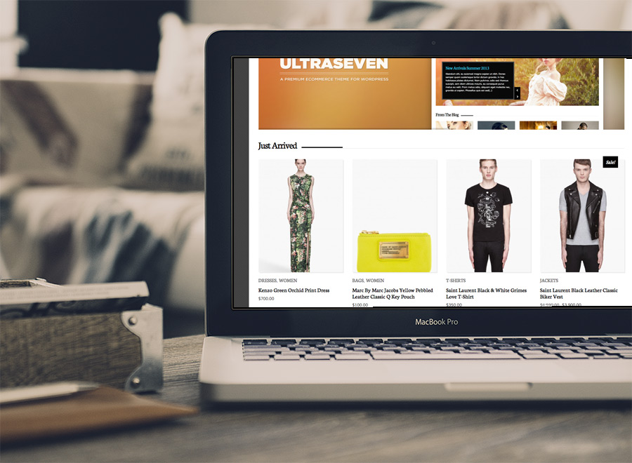 Screenshot of WooCommerce theme for WordPress UltraSeven on Laptop
