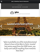 Screenshot of WordPress theme for bars & restaurants Igloo on Mini Tablet