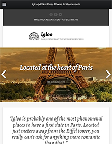 Screenshot of WordPress theme for bars & restaurants Igloo on Tablet