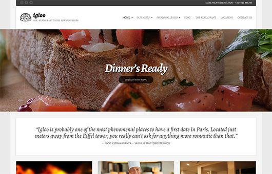 Screenshot of WordPress theme for bars & restaurants Igloo on Laptop