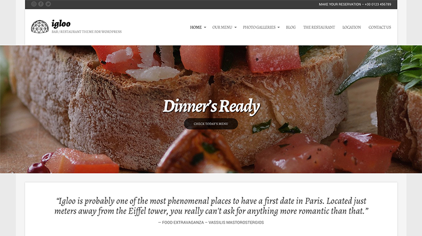 Screenshot of WordPress theme for bars & restaurants Igloo on Desktop