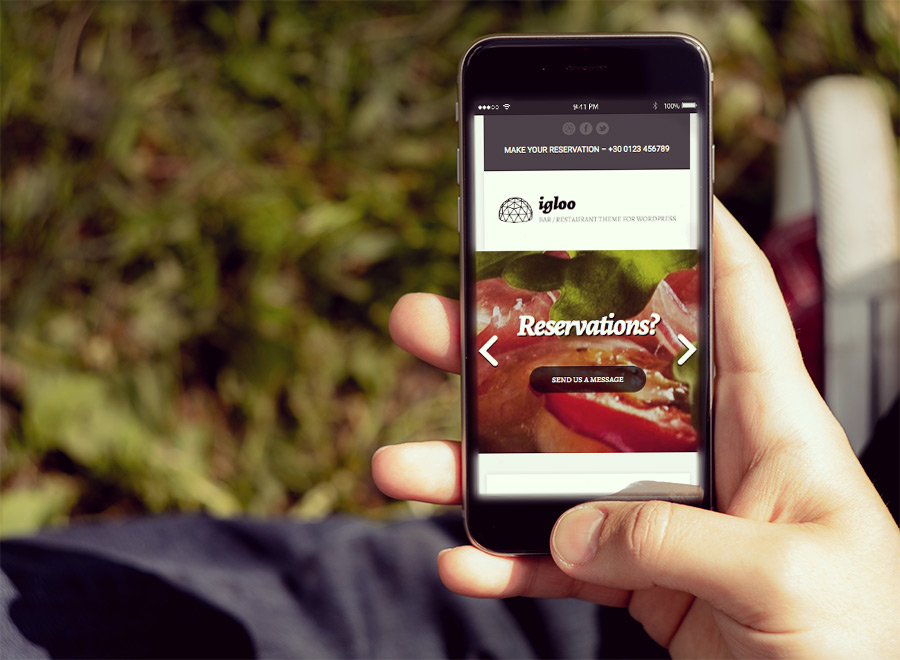 Screenshot of WordPress theme for bars & restaurants Igloo on Smartphone
