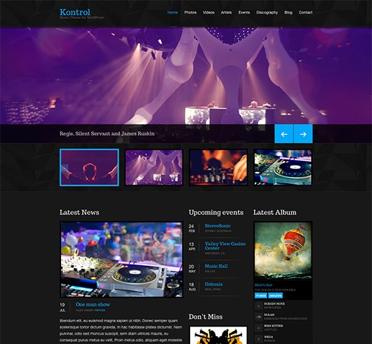 Screenshot of Music theme for WordPress Kontrol