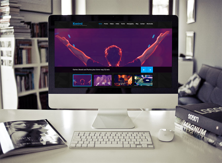 Screenshot of Music theme for WordPress Kontrol on Desktop