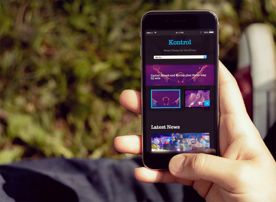 Screenshot of Music theme for WordPress Kontrol on Smartphone
