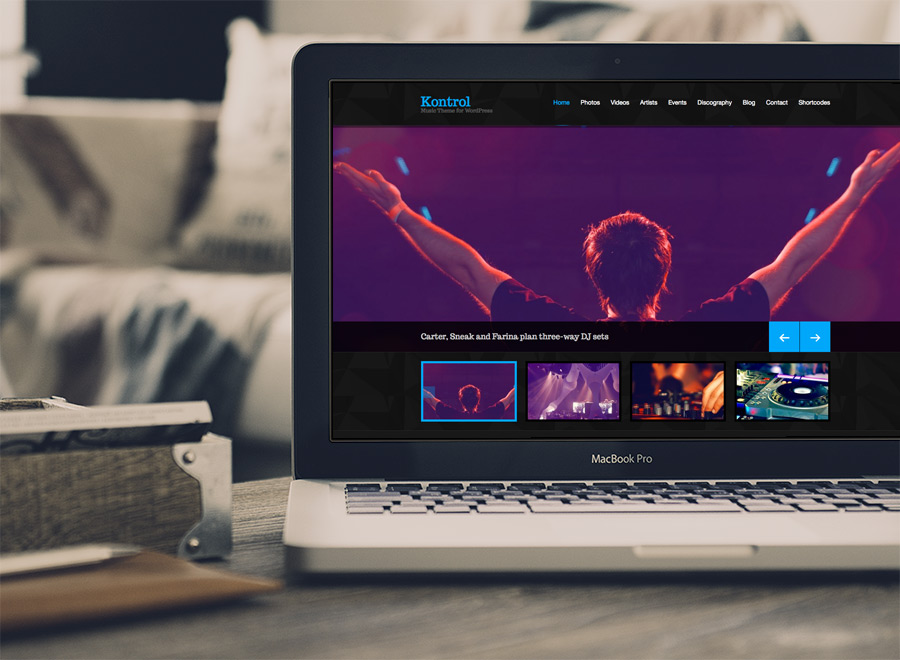 Screenshot of Music theme for WordPress Kontrol on Laptop