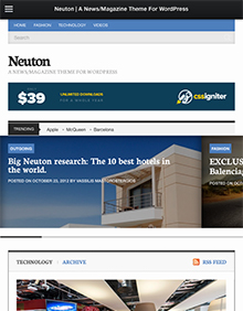 Screenshot of News/Magazine WordPress theme Neuton on Tablet