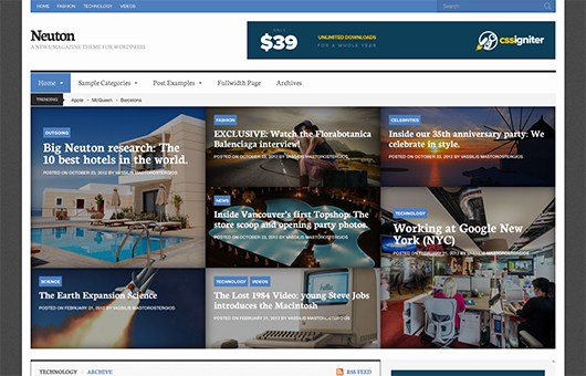 Screenshot of News/Magazine WordPress theme Neuton on Laptop