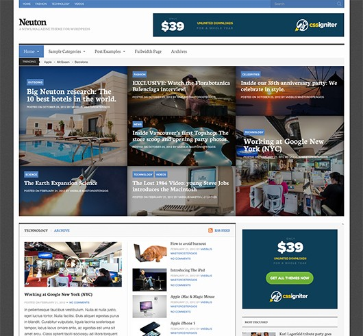 Screenshot of News/Magazine WordPress theme Neuton