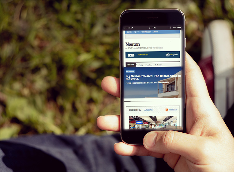 Screenshot of News/Magazine WordPress theme Neuton on Smartphone