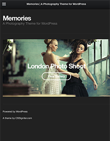 Screenshot of Portfolio WordPress theme Memories on Tablet