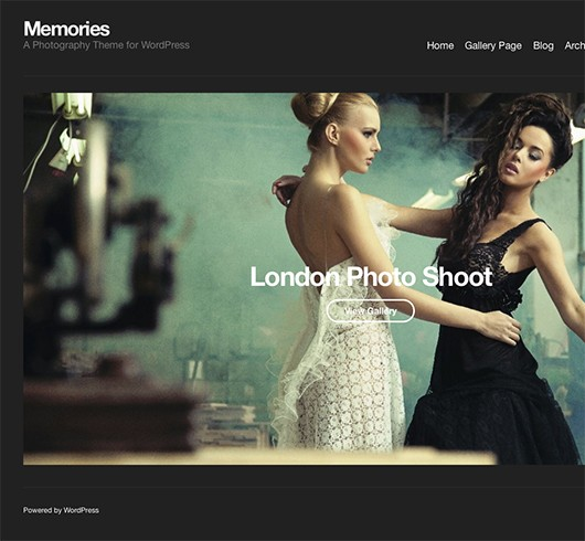 Screenshot of Portfolio WordPress theme Memories