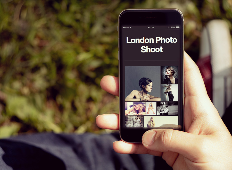 Screenshot of Portfolio WordPress theme Memories on Smartphone