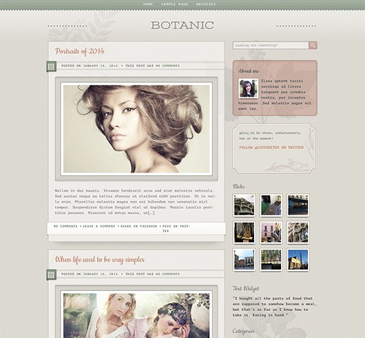 Screenshot of Blogging WordPress theme Botanic