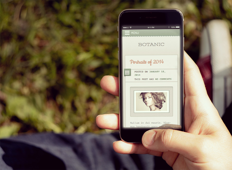 Screenshot of Blogging WordPress theme Botanic on Smartphone