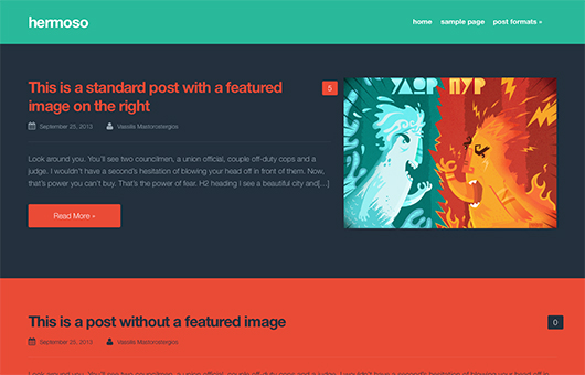Screenshot of Free Blogging theme for WordPress Hermoso on Laptop