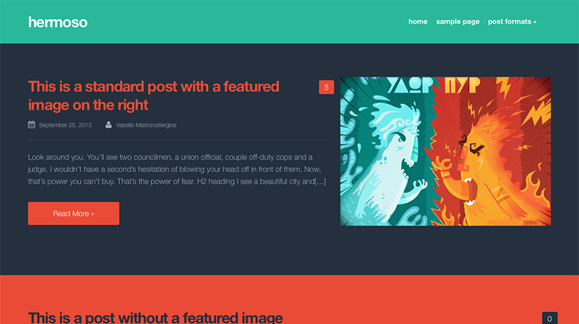 Screenshot of Free Blogging theme for WordPress Hermoso on Desktop