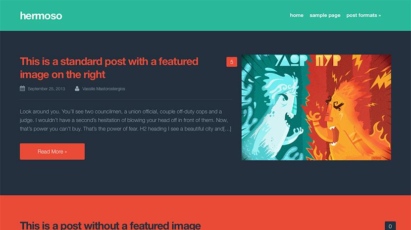 Screenshot of Free Blogging theme for WordPress Hermoso on Desktop