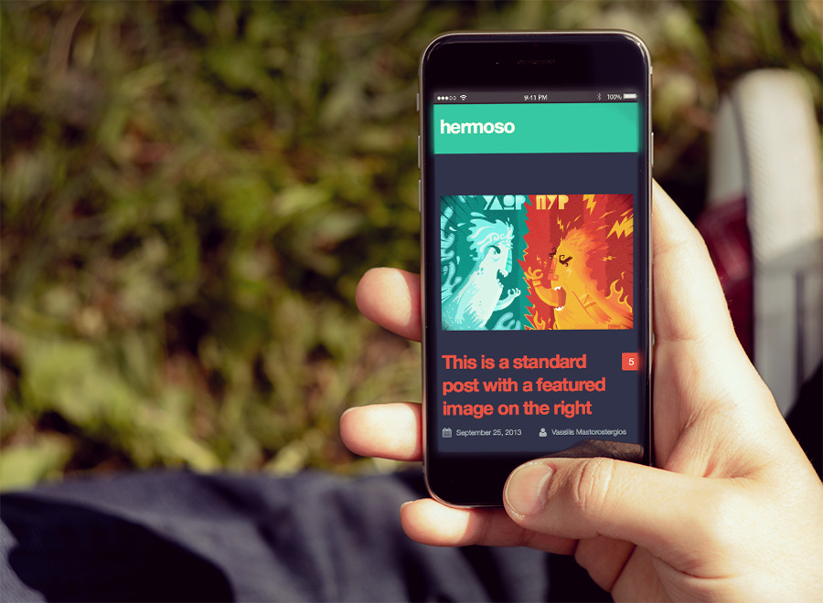 Screenshot of Free Blogging theme for WordPress Hermoso on Smartphone