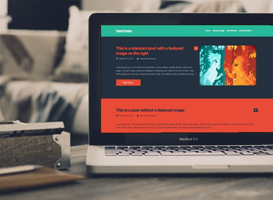 Screenshot of Free Blogging theme for WordPress Hermoso on Laptop