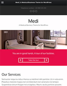 Screenshot of Medical theme for WordPress Medi on Tablet