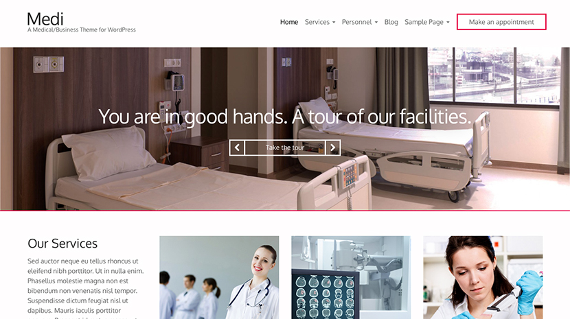 Screenshot of Medical theme for WordPress Medi on Desktop