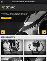 Screenshot of Fitness/Health WordPress theme Olympic on Mini Tablet