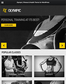 Screenshot of Fitness/Health WordPress theme Olympic on Tablet