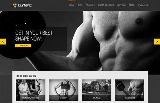 Screenshot of Fitness/Health WordPress theme Olympic on Laptop