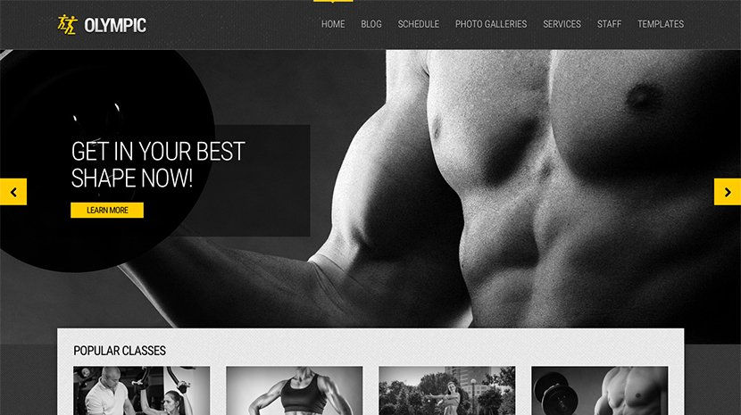 Screenshot of Fitness/Health WordPress theme Olympic on Desktop