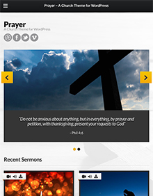 Screenshot of Church theme for WordPress Prayer on Tablet