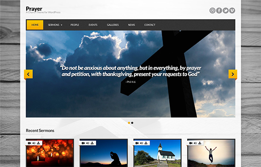 Screenshot of Church theme for WordPress Prayer on Laptop