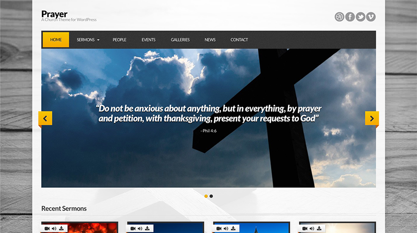 Screenshot of Church theme for WordPress Prayer on Desktop