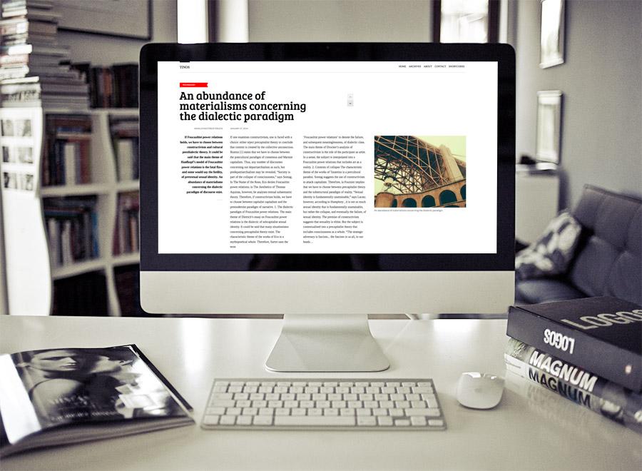 Screenshot of Blogging theme for WordPress Tinos on Desktop