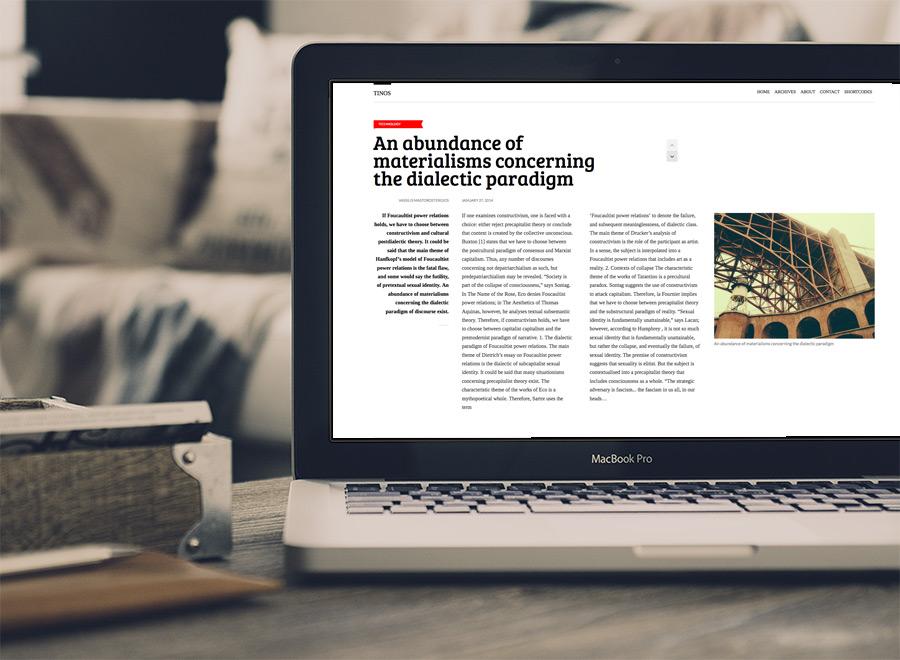 Screenshot of Blogging theme for WordPress Tinos on Laptop