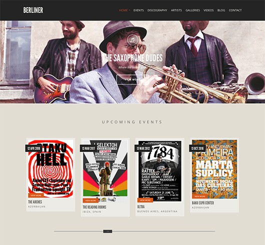 Screenshot of Music theme for WordPress Berliner