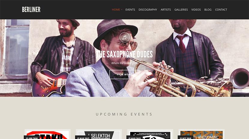 Screenshot of Music theme for WordPress Berliner on Desktop
