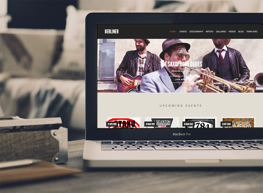 Screenshot of Music theme for WordPress Berliner on Laptop