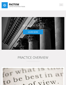 Screenshot of Law theme for WordPress Factum on Tablet