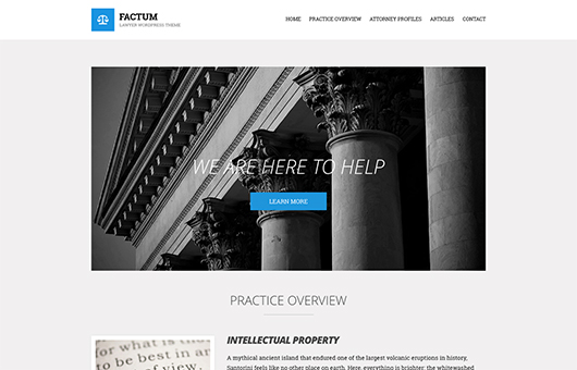 Screenshot of Law theme for WordPress Factum on Laptop