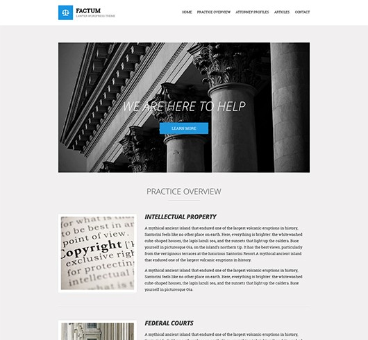 Screenshot of Law theme for WordPress Factum