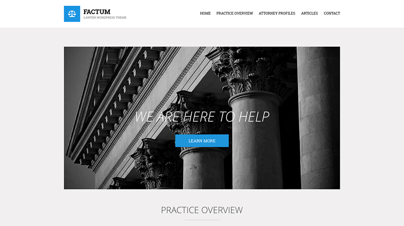Screenshot of Law theme for WordPress Factum on Desktop