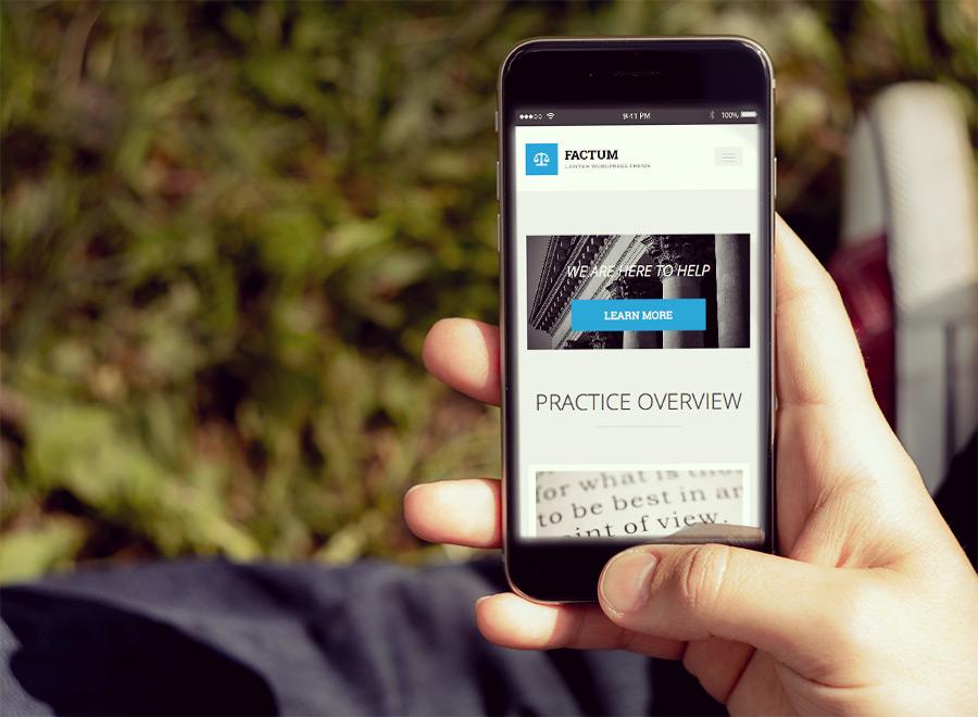 Screenshot of Law theme for WordPress Factum on Smartphone