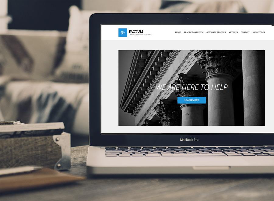 Screenshot of Law theme for WordPress Factum on Laptop